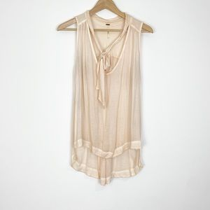 Free People Pink Tie Neck Tank Size Small